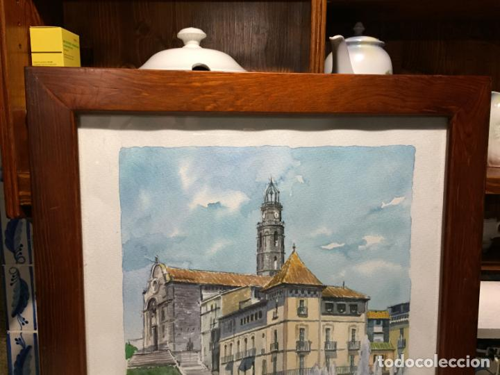 Arte: Antigua acuarela de Manlleu del pintor J.M. Calbó de la jubilación de un trabajador de Euroclima - Foto 2 - 159032156