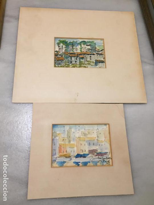 ANTIGUAS 2 ACUARELA / ACUARELAS DE DOS PAISAJES RUPIT Y CIUTADELLA DEL PINTOR J. PUJOL AÑOS 70-80 (Arte - Acuarelas - Contemporáneas siglo XX)