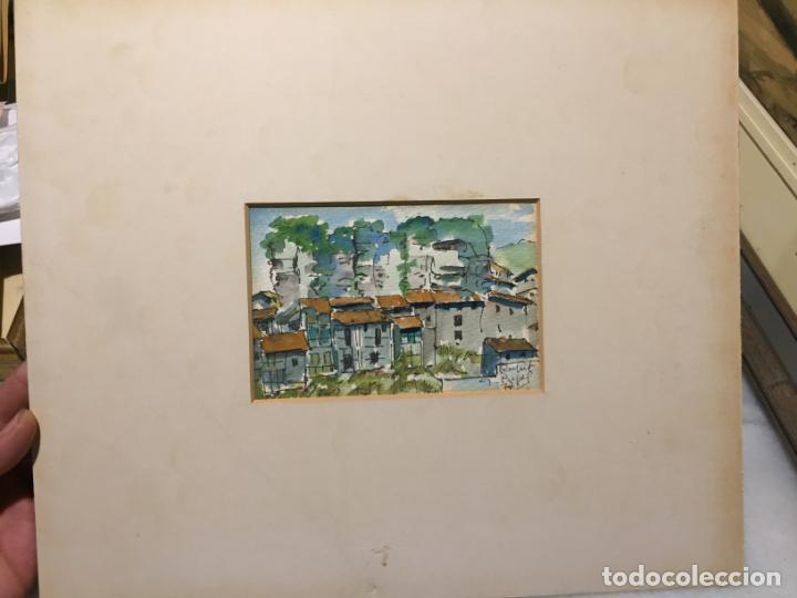 Arte: Antiguas 2 acuarela / acuarelas de dos paisajes Rupit y Ciutadella del pintor J. Pujol años 70-80 - Foto 2 - 152374106