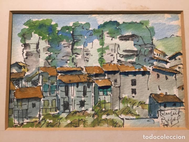 Arte: Antiguas 2 acuarela / acuarelas de dos paisajes Rupit y Ciutadella del pintor J. Pujol años 70-80 - Foto 3 - 152374106