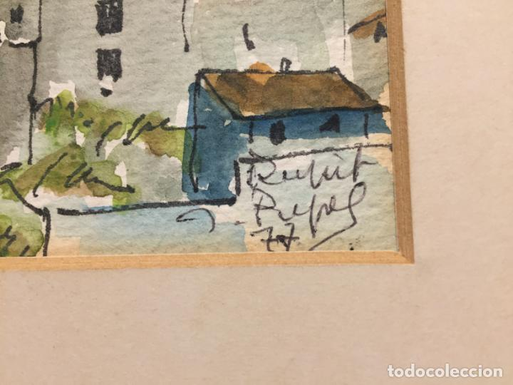 Arte: Antiguas 2 acuarela / acuarelas de dos paisajes Rupit y Ciutadella del pintor J. Pujol años 70-80 - Foto 5 - 152374106