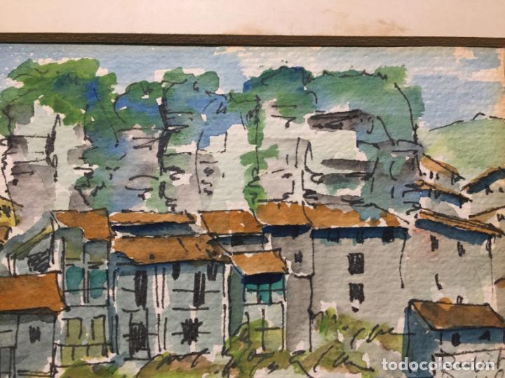 Arte: Antiguas 2 acuarela / acuarelas de dos paisajes Rupit y Ciutadella del pintor J. Pujol años 70-80 - Foto 6 - 152374106