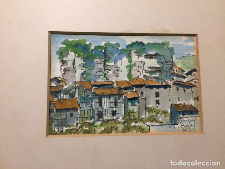 Arte: Antiguas 2 acuarela / acuarelas de dos paisajes Rupit y Ciutadella del pintor J. Pujol años 70-80 - Foto 7 - 152374106