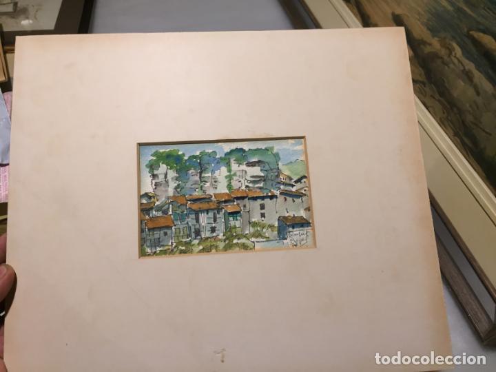 Arte: Antiguas 2 acuarela / acuarelas de dos paisajes Rupit y Ciutadella del pintor J. Pujol años 70-80 - Foto 8 - 152374106