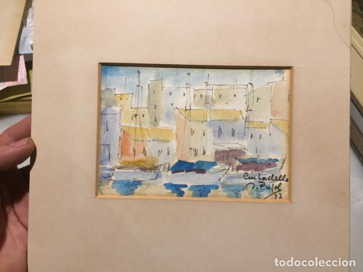 Arte: Antiguas 2 acuarela / acuarelas de dos paisajes Rupit y Ciutadella del pintor J. Pujol años 70-80 - Foto 11 - 152374106