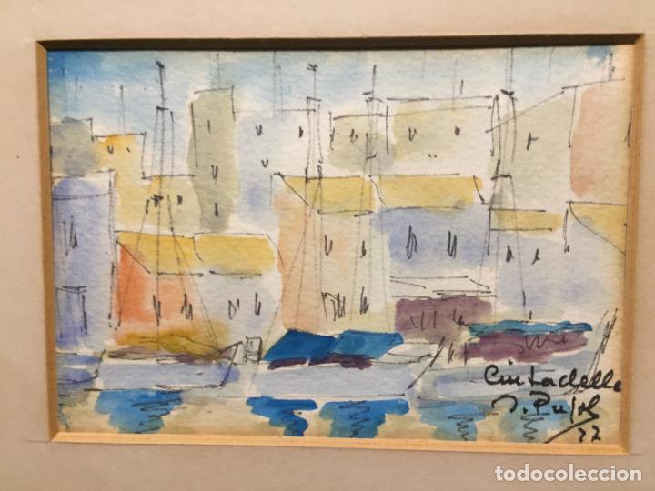 Arte: Antiguas 2 acuarela / acuarelas de dos paisajes Rupit y Ciutadella del pintor J. Pujol años 70-80 - Foto 12 - 152374106