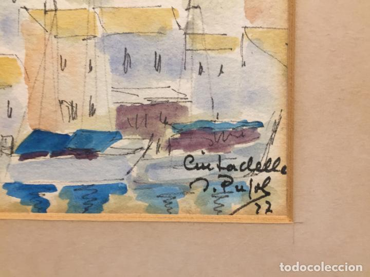 Arte: Antiguas 2 acuarela / acuarelas de dos paisajes Rupit y Ciutadella del pintor J. Pujol años 70-80 - Foto 13 - 152374106