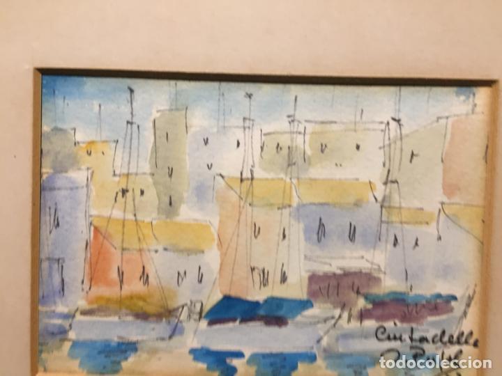 Arte: Antiguas 2 acuarela / acuarelas de dos paisajes Rupit y Ciutadella del pintor J. Pujol años 70-80 - Foto 14 - 152374106