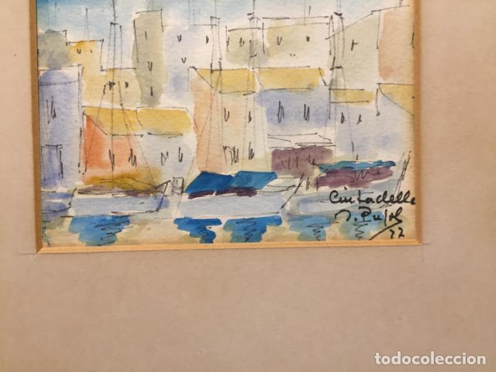 Arte: Antiguas 2 acuarela / acuarelas de dos paisajes Rupit y Ciutadella del pintor J. Pujol años 70-80 - Foto 15 - 152374106