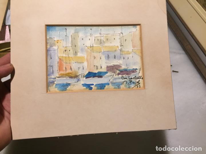 Arte: Antiguas 2 acuarela / acuarelas de dos paisajes Rupit y Ciutadella del pintor J. Pujol años 70-80 - Foto 16 - 152374106