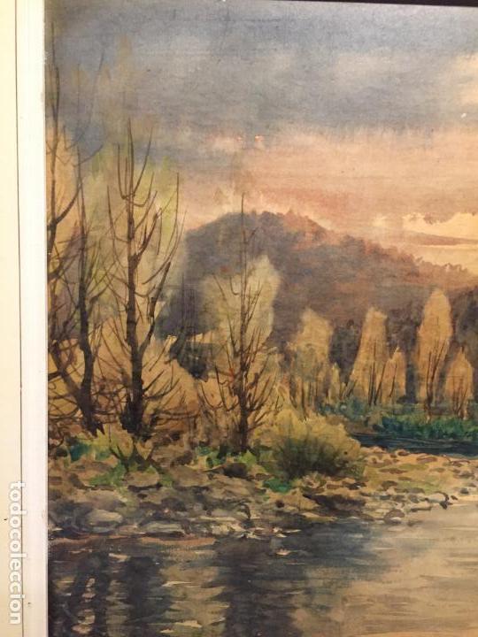 Arte: Antiguo cuadro acuarela de paisaje del pintor Ramon Pons ( 1887-1978) - Foto 2 - 152374370