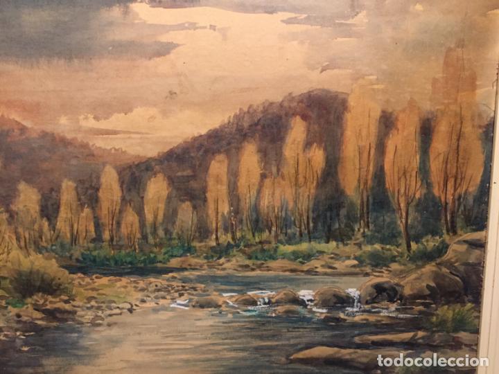 Arte: Antiguo cuadro acuarela de paisaje del pintor Ramon Pons ( 1887-1978) - Foto 3 - 152374370