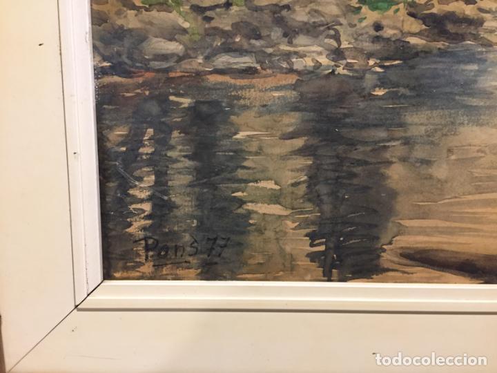 Arte: Antiguo cuadro acuarela de paisaje del pintor Ramon Pons ( 1887-1978) - Foto 5 - 152374370