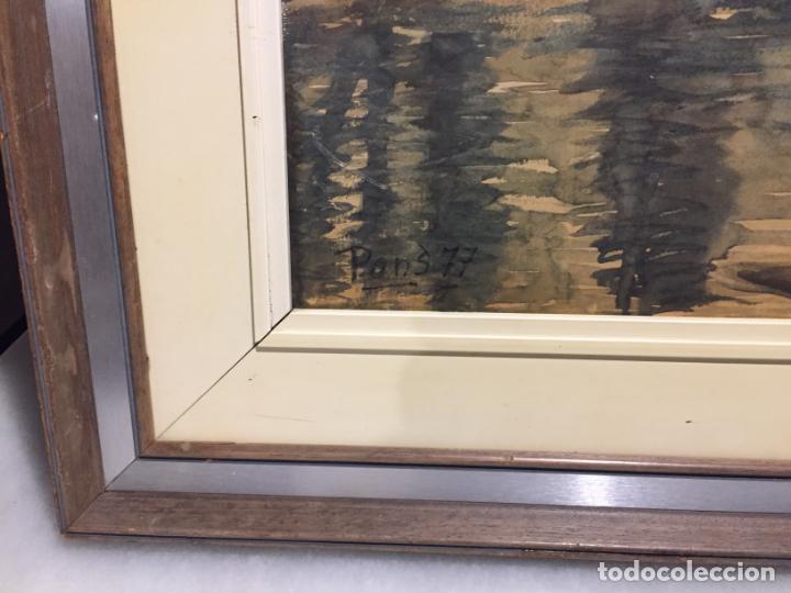 Arte: Antiguo cuadro acuarela de paisaje del pintor Ramon Pons ( 1887-1978) - Foto 6 - 152374370