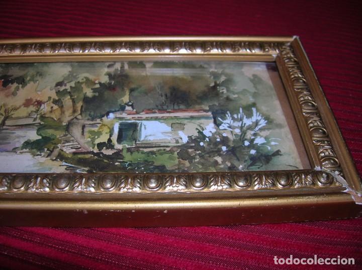 Arte: Acuarela con firma Ara Gras.Marco antiguo. - Foto 2 - 152404598
