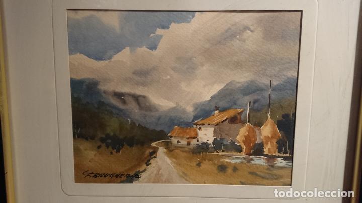Arte: Antiguos 2 cuadro / cuadros acuarela del pintor Felip Brugueras Pallach - Foto 4 - 152554862