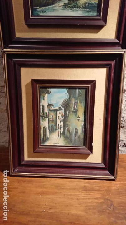 Arte: Antiguos 2 cuadro / cuadros al oleo del pintor Angel Montanuy pueblo de Sitges y molino de agua - Foto 2 - 152555938