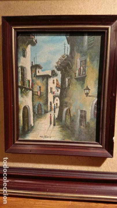 Arte: Antiguos 2 cuadro / cuadros al oleo del pintor Angel Montanuy pueblo de Sitges y molino de agua - Foto 3 - 152555938