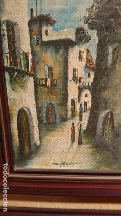 Arte: Antiguos 2 cuadro / cuadros al oleo del pintor Angel Montanuy pueblo de Sitges y molino de agua - Foto 4 - 152555938