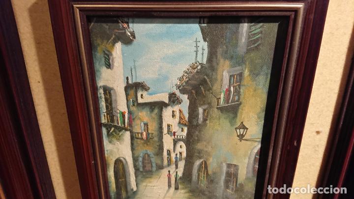 Arte: Antiguos 2 cuadro / cuadros al oleo del pintor Angel Montanuy pueblo de Sitges y molino de agua - Foto 9 - 152555938