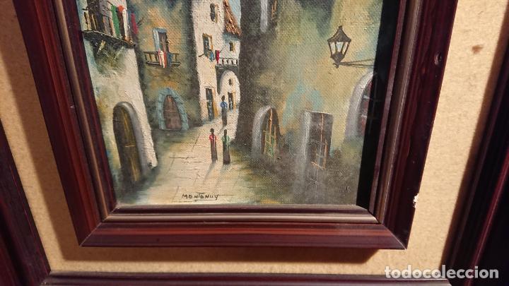 Arte: Antiguos 2 cuadro / cuadros al oleo del pintor Angel Montanuy pueblo de Sitges y molino de agua - Foto 10 - 152555938