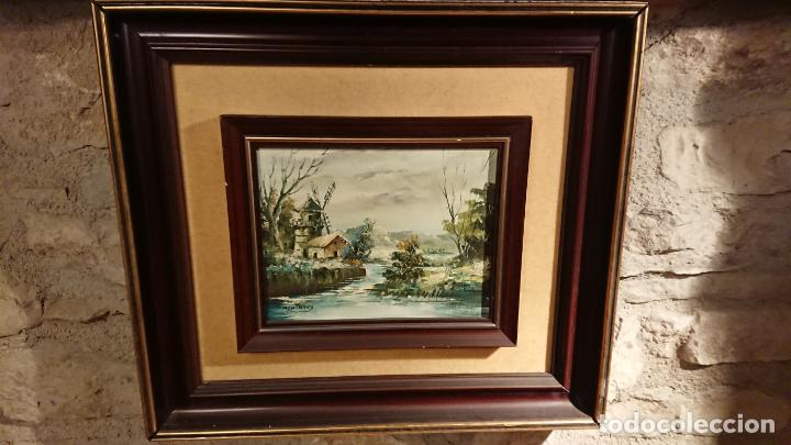 Arte: Antiguos 2 cuadro / cuadros al oleo del pintor Angel Montanuy pueblo de Sitges y molino de agua - Foto 12 - 152555938