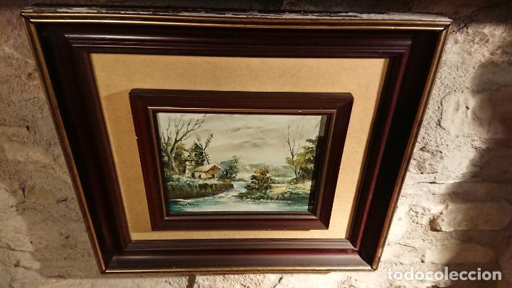 Arte: Antiguos 2 cuadro / cuadros al oleo del pintor Angel Montanuy pueblo de Sitges y molino de agua - Foto 13 - 152555938