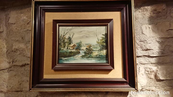 Arte: Antiguos 2 cuadro / cuadros al oleo del pintor Angel Montanuy pueblo de Sitges y molino de agua - Foto 14 - 152555938