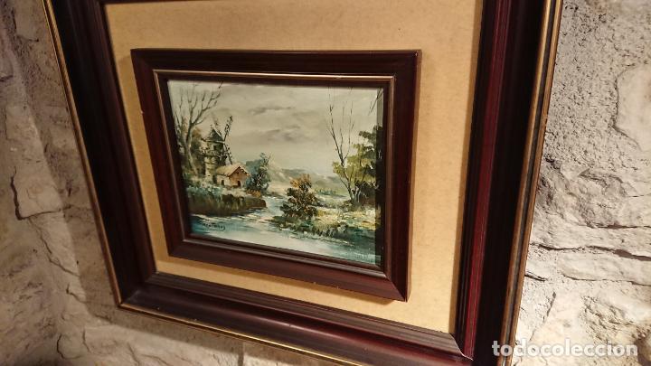 Arte: Antiguos 2 cuadro / cuadros al oleo del pintor Angel Montanuy pueblo de Sitges y molino de agua - Foto 15 - 152555938