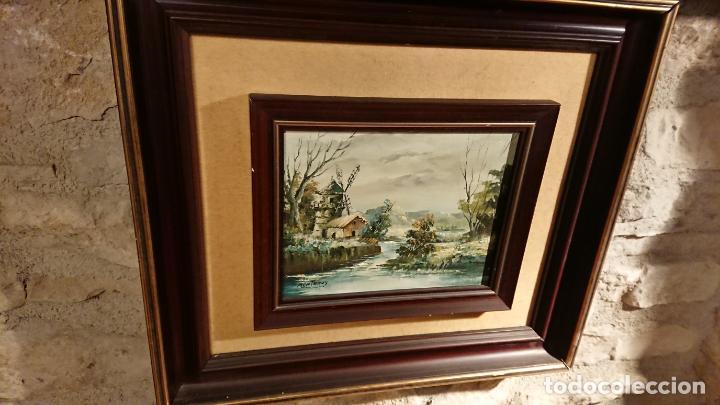 Arte: Antiguos 2 cuadro / cuadros al oleo del pintor Angel Montanuy pueblo de Sitges y molino de agua - Foto 16 - 152555938