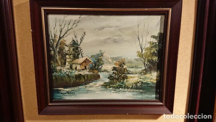 Arte: Antiguos 2 cuadro / cuadros al oleo del pintor Angel Montanuy pueblo de Sitges y molino de agua - Foto 17 - 152555938