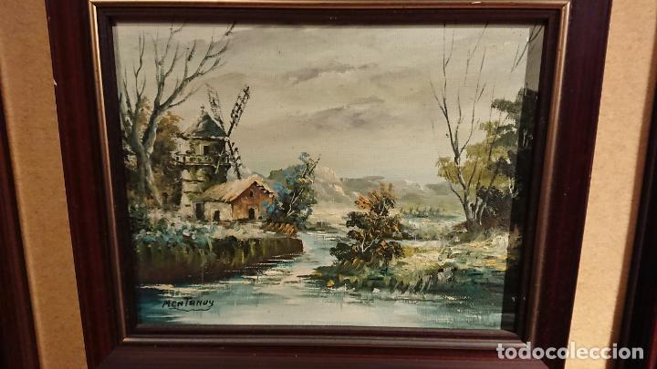 Arte: Antiguos 2 cuadro / cuadros al oleo del pintor Angel Montanuy pueblo de Sitges y molino de agua - Foto 19 - 152555938