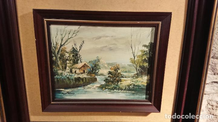 Arte: Antiguos 2 cuadro / cuadros al oleo del pintor Angel Montanuy pueblo de Sitges y molino de agua - Foto 20 - 152555938