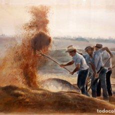 Arte: ACUARELA ORIGINAL DE MIGUEL ANGEL BEDATE. AVENTANDO EL GRANO. Lote 152607734