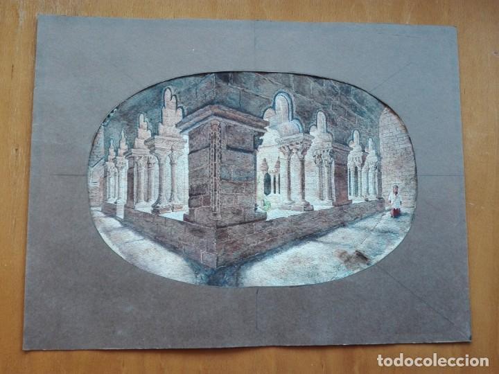 CLAUSTRO DE SANT PAU DEL CAMP. ACUARELA, PAPEL HAND MADE J. WHATMAN. S.XIX-S.XX. FIRMA ILEGIBLE. (Arte - Acuarelas - Modernas siglo XIX)