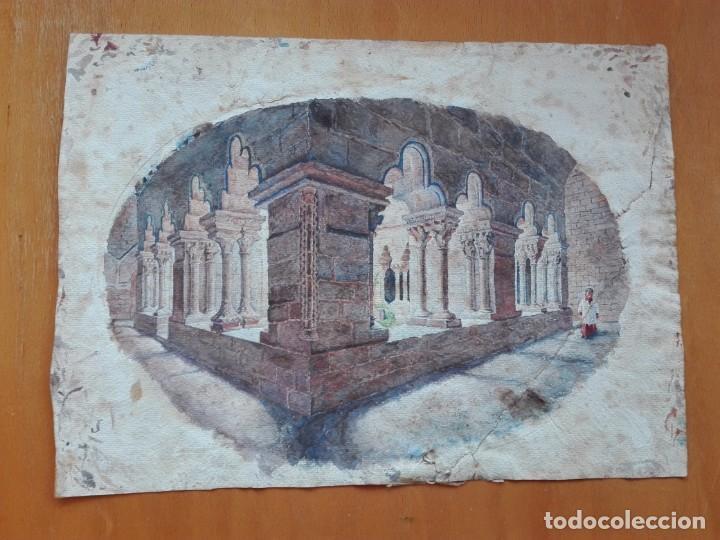 Arte: Claustro de Sant Pau del Camp. Acuarela, papel Hand Made J. Whatman. S.XIX-S.XX. Firma ilegible. - Foto 2 - 152751082