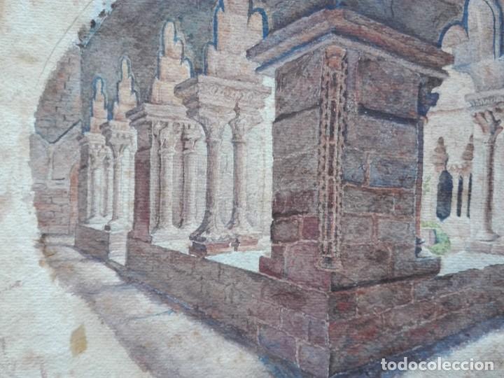 Arte: Claustro de Sant Pau del Camp. Acuarela, papel Hand Made J. Whatman. S.XIX-S.XX. Firma ilegible. - Foto 3 - 152751082