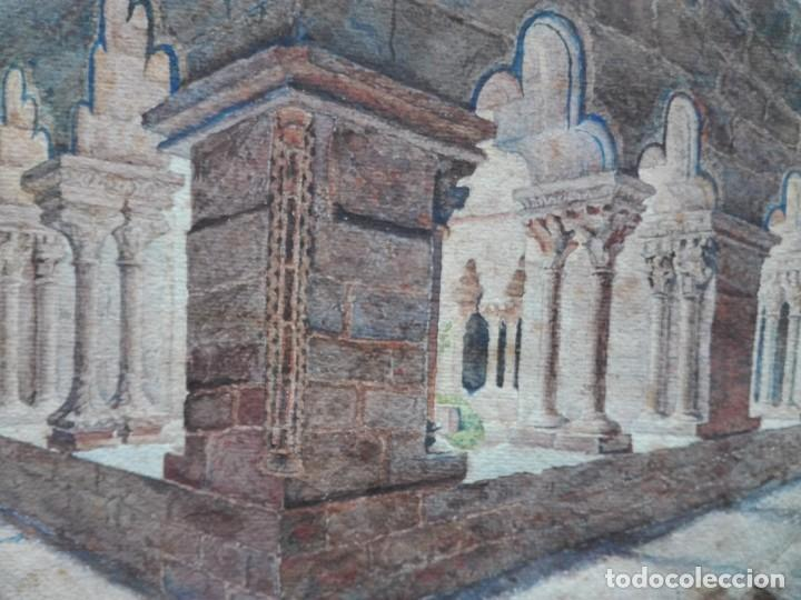 Arte: Claustro de Sant Pau del Camp. Acuarela, papel Hand Made J. Whatman. S.XIX-S.XX. Firma ilegible. - Foto 5 - 152751082