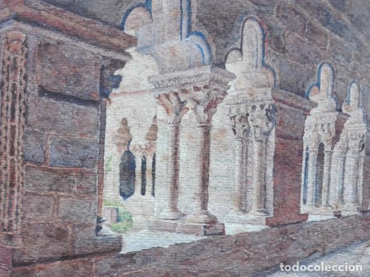 Arte: Claustro de Sant Pau del Camp. Acuarela, papel Hand Made J. Whatman. S.XIX-S.XX. Firma ilegible. - Foto 6 - 152751082