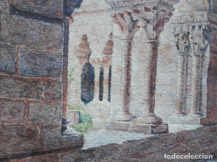 Arte: Claustro de Sant Pau del Camp. Acuarela, papel Hand Made J. Whatman. S.XIX-S.XX. Firma ilegible. - Foto 7 - 152751082