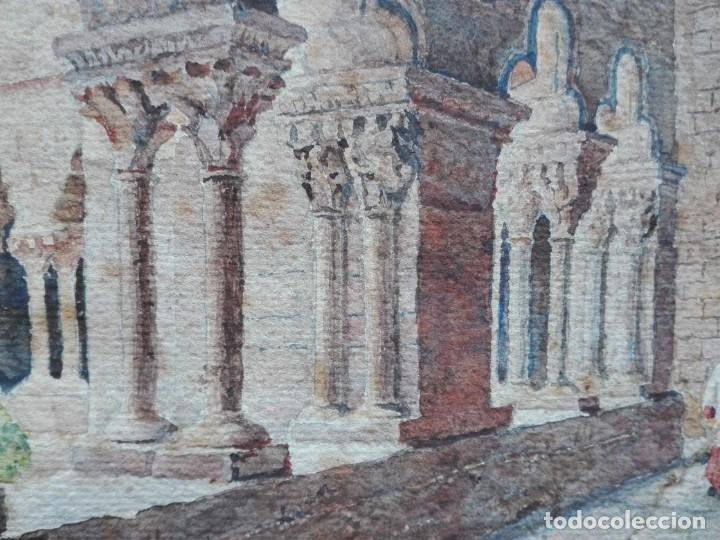 Arte: Claustro de Sant Pau del Camp. Acuarela, papel Hand Made J. Whatman. S.XIX-S.XX. Firma ilegible. - Foto 8 - 152751082
