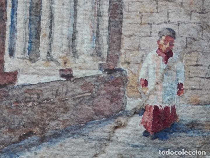 Arte: Claustro de Sant Pau del Camp. Acuarela, papel Hand Made J. Whatman. S.XIX-S.XX. Firma ilegible. - Foto 9 - 152751082