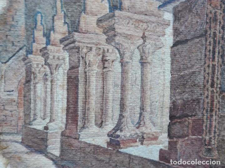 Arte: Claustro de Sant Pau del Camp. Acuarela, papel Hand Made J. Whatman. S.XIX-S.XX. Firma ilegible. - Foto 10 - 152751082