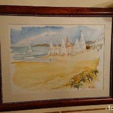 Arte: ANTIGUO CUADRO ACUARELA DE MARINA REALIZADO POR EL PINTOR JOAN ODENA ENMARCADO. Lote 152789994