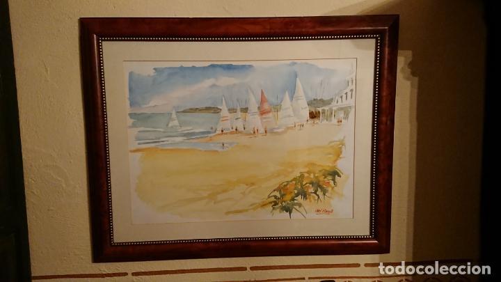 Arte: Antiguo cuadro acuarela de marina realizado por el pintor Joan Odena enmarcado - Foto 2 - 152789994