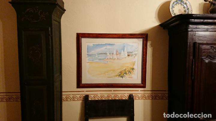 Arte: Antiguo cuadro acuarela de marina realizado por el pintor Joan Odena enmarcado - Foto 3 - 152789994