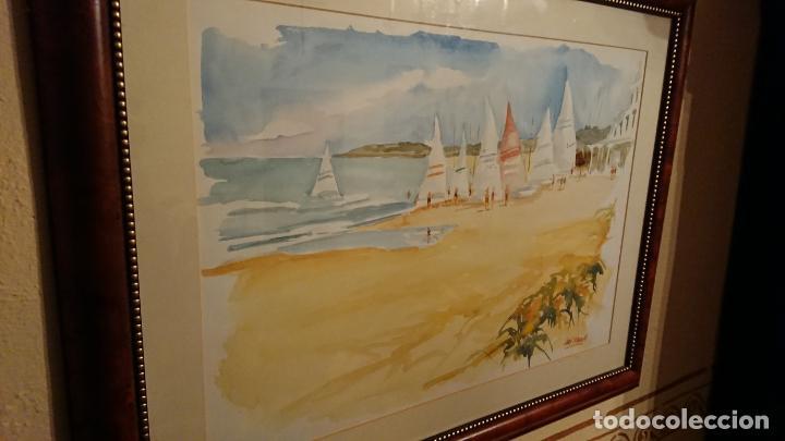 Arte: Antiguo cuadro acuarela de marina realizado por el pintor Joan Odena enmarcado - Foto 4 - 152789994