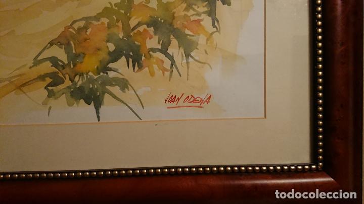 Arte: Antiguo cuadro acuarela de marina realizado por el pintor Joan Odena enmarcado - Foto 5 - 152789994