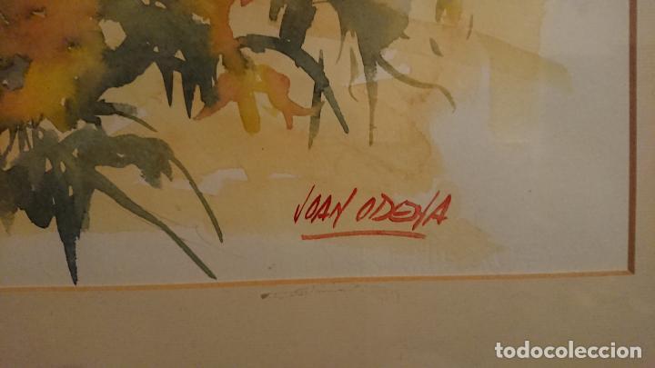Arte: Antiguo cuadro acuarela de marina realizado por el pintor Joan Odena enmarcado - Foto 6 - 152789994