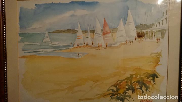 Arte: Antiguo cuadro acuarela de marina realizado por el pintor Joan Odena enmarcado - Foto 8 - 152789994